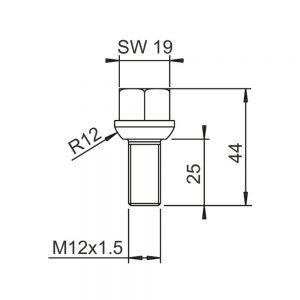 גוז'ון M12X1.5X25 אלקו        2081670020